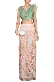 Peach & Green Embroidered Skirt With Ruffled Blouse by Pranay Baidya