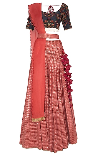 Brick Red & Navy Blue Embroidered Sequins Lehenga Set by Pranay Baidya