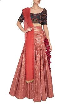 Brick Red & Navy Blue Embroidered Sequins Lehenga Set by Pranay Baidya