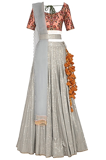 Multi Colored Printed & Embroidered Lehenga Set by Pranay Baidya