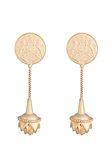Gold Finish Coin & Lotus Drop Earrings by Pranay Baidya Jewellery