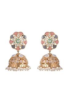 Gold Finish Pink & Grey Enameled Jhumka Earrings by Pranay Baidya Jewellery