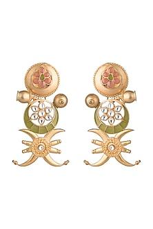 Gold Finish Pink & Green Enameled Tribal Motif Earrings by Pranay Baidya Jewellery