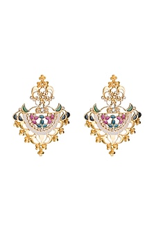 Gold Finish Multi Colored Enameled Earrings by Pranay Baidya Jewellery