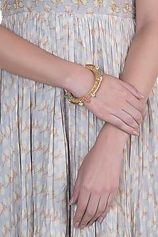 Gold Finish Pearl Drop Filigree Bangle by Pranay Baidya Jewellery