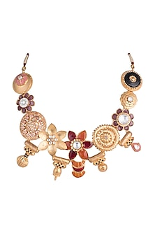 Gold Finish Flower Collage & Enameled Necklace by Pranay Baidya Jewellery