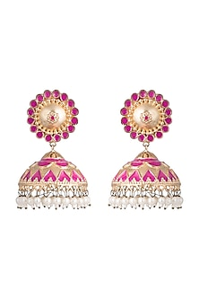 Gold Finish Pink Enameled Pasha Jhumka Earrings by Pranay Baidya Jewellery