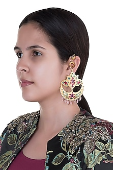 Gold Finish Multi Colored Enameled Long Earrings by Pranay Baidya Jewellery