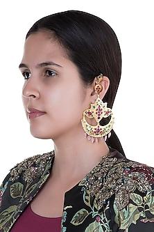 Gold Finish Multi Colored Enameled Long Earrings by Pranay Baidya Jewellery