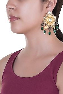 Gold Finish Floral Motif Green Bead Earrings by Pranay Baidya Jewellery