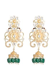 Gold Finish Bird Motif & Green Bead Earrings by Pranay Baidya Jewellery