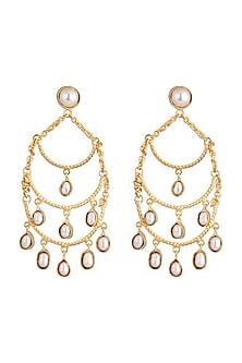 Gold Finish Pearl Drop Chandelier Earrings by Pranay Baidya Jewellery