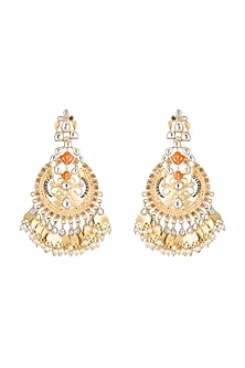 Gold Finish Orange Enameled Leaf Earrings by Pranay Baidya Jewellery
