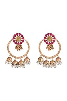 Gold Finish Enameled Jhumka Earrings by Pranay Baidya Jewellery