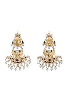 Gold Finish Enameled Multi Colored Stone Earrings by Pranay Baidya Jewellery