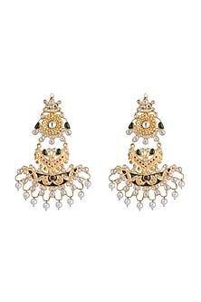Gold Finish Enameled Multi Colored Stone Earrings by Pranay Baidya Jewellery