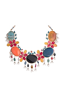 Gold Finish Multi Colored Stone & Pearl Drop Necklace by Pranay Baidya Jewellery