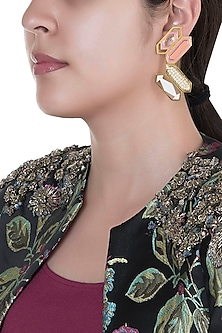 Gold Finish Enameled Geometric Motif Earrings by Pranay Baidya Jewellery