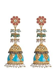 Gold Finish Enameled Long Jhumka Earrings by Pranay Baidya Jewellery