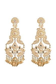 Gold Finish Regal Motif & Leaf Tassel Long Earrings by Pranay Baidya Jewellery