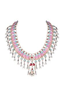 Gold Finish Enameled & Pearl Tassel Necklace by Pranay Baidya Jewellery