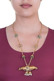 Gold Finish Pearls & Beaded Tassels Tube Pendant Necklace by Pranay Baidya Jewellery