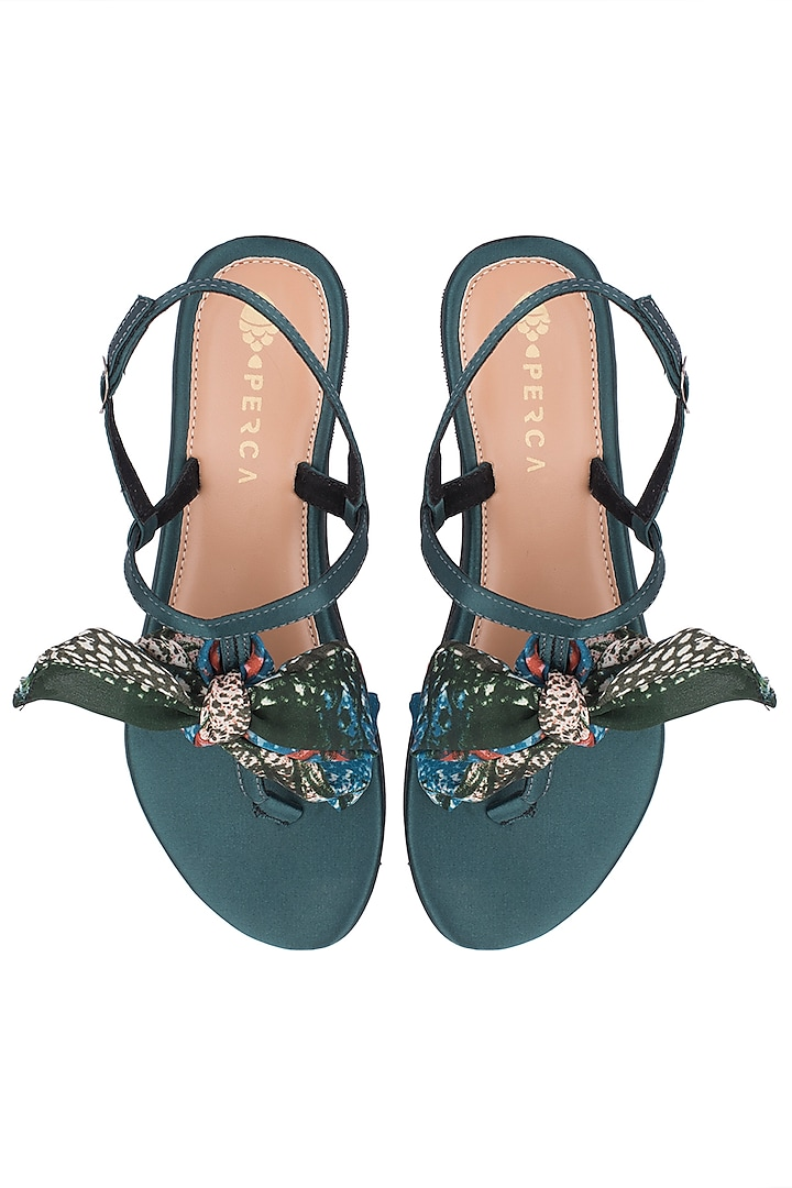 Green Satin Strappy Sandals by Perca