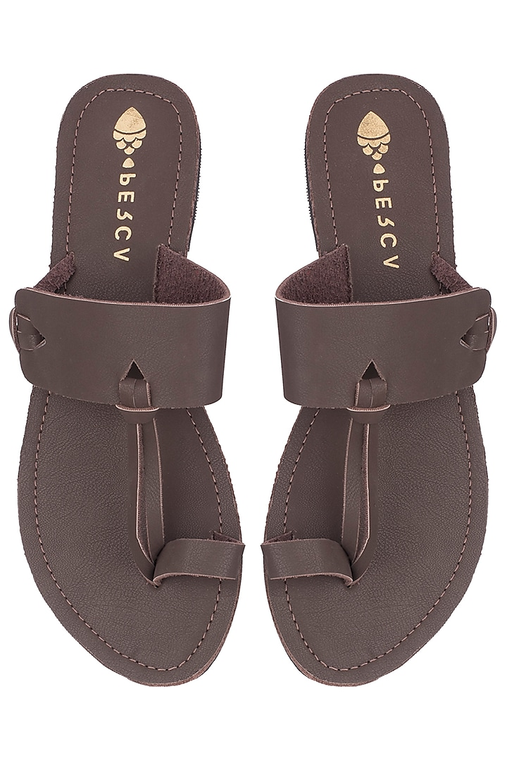 Brown Leather Slippers by Perca