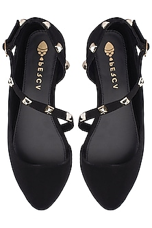 Black Strappy Flats by Perca