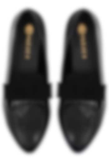 Black Suede Bow Flats by Perca