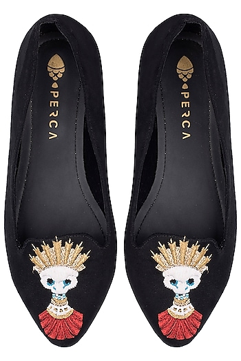 Black Embroidered Flats by Perca