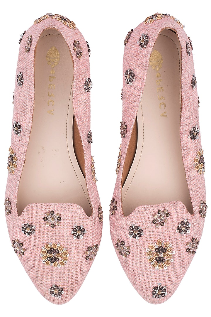Pink Embellished Floral Flats by Perca