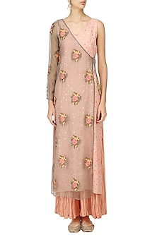 Earthy Pink Embroidered Half Jacket Kalidaar with Palazzo Set by Pre-Ri