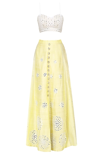 Lemon Yellow Mirror Embroidery Lehenga Set by Pre-Ri