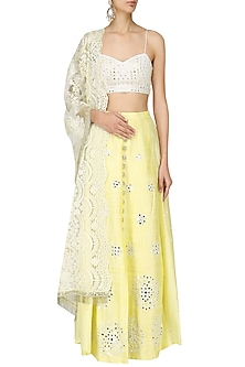 Lemon Yellow Mirror Embroidery Lehenga Set by Pre-Ri