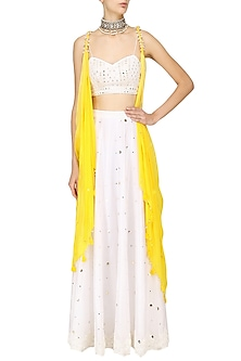 Yellow Twisted Jacket with White Blouse and Lehenga Set by Pre-Ri