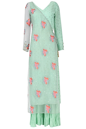 Aqua Embroidered Half Jacket with Palazzo Set by Pre-Ri