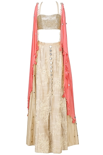 Coral Coin Work Twisted Jacket with Beige Blouse and Lehenga Set by Pre-Ri