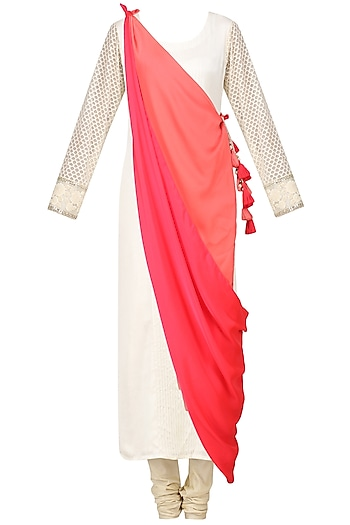 Creme Embroidered Drape Kurta with Churidaar Pants Set by Pre-Ri