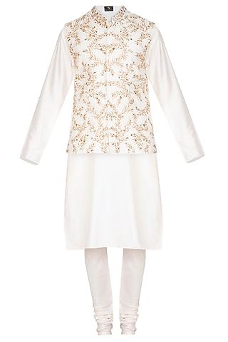 Ivory Kurta Set With Embroidered Waistcoat by Prathyusha Garimella Men