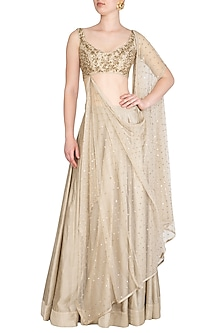 Champagne Gold Embroidered Lehenga Set by Prathyusha Garimella
