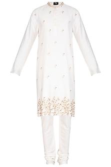 Ivory Leaf Embroidered Kurta With Churidaar Pants by Prathyusha Garimella Men