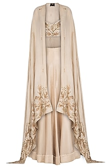 Champagne Gold Embroidered Lehenga Skirt With Blouse & Cape by Prathyusha Garimella