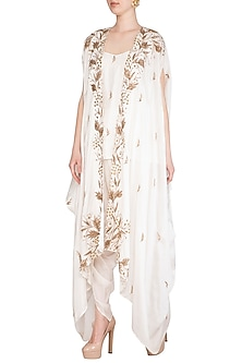Ivory Embroidered Cowl Cape With Blouse & Dhoti Pants by Prathyusha Garimella