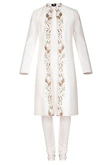 Ivory Kurta Set With Embroidered Jacket by Prathyusha Garimella Men