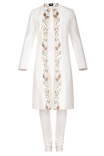 Ivory Kurta Set With Embroidered Jacket by Prathyusha Garimella Men