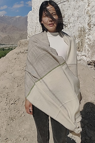 White Handwoven Striped Scarf by Lena Ladakh Pashmina