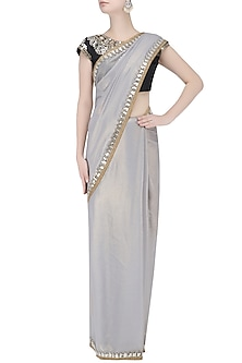 Grey Shimmer Georgette Embroidered Saree with Black Blouse by Amota by Priti Sahni
