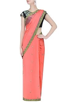 Deep Peach Stones Embroidered Saree with Black Blouse by Priti Sahni