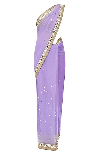 Lilac Mirror Embroidered Saree with Copper Cutwork Blouse by Amota by Priti Sahni